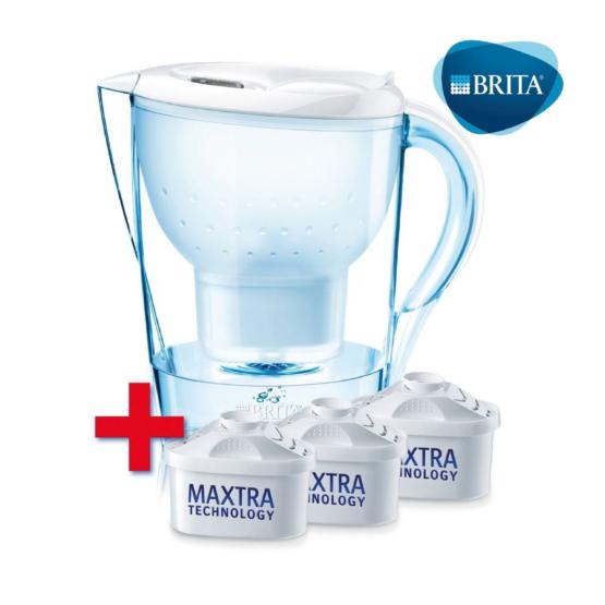 Brita Marella White vízszűrő kancsó induló csomag, 3 db szűrőbetéttel