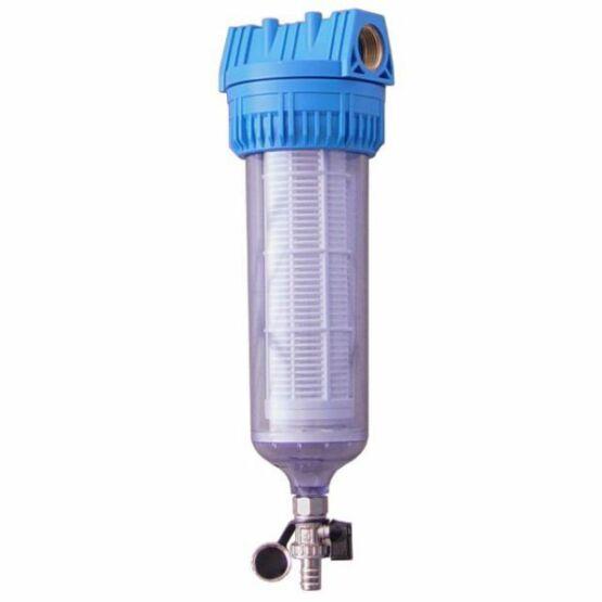 """Aqua 10"""" központi vízszűrő leeresztő csappal és mosható szűrőbetéttel"""